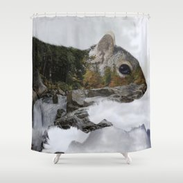 Waterfall Squirrel Shower Curtain