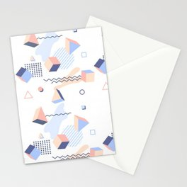 PASTEL AND COOL TONE RETRO GEOMETRIC PATTERN Stationery Cards