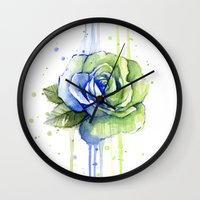seahawks Wall Clocks featuring Seattle 12th Man Seahawks Rose Watercolor Painting Art by Olechka