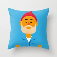 steve zissou Throw Pillows featuring Steve Zissou by Marco Recuero