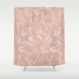 Linear leaves in Blush Shower Curtain