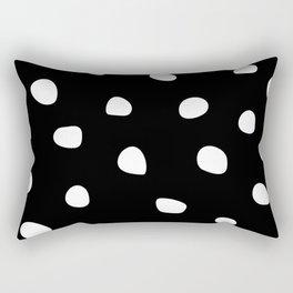 Abstract Dots on Black Rectangular Pillow