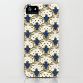 Fan Pattern Blue/Gold iPhone Case