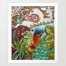 The Girl and The Bird 2 Art Print