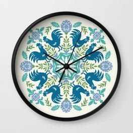 Blue Roosters Wall Clock