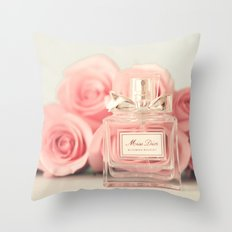 Delicious perfume still life with roses Throw Pillow