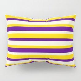 Indigo, Beige & Yellow Lines Pattern Pillow Sham