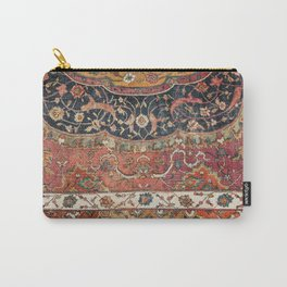 Persian Medallion Rug IX // 16th Century Distressed Red Green Blue Flowery Colorful Ornate Pattern Carry-All Pouch