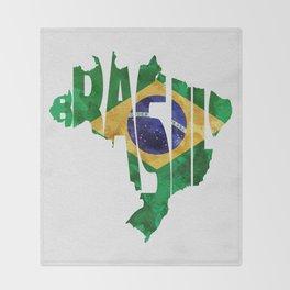 Brasil Typographic World Map / Brasil Typography Flag Map Art Throw Blanket