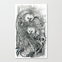 owls Canvas Prints featuring Owls by Irina Vinnik