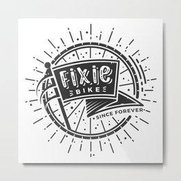 Fixie Bike B&W Metal Print