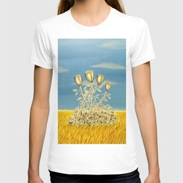Silver Flowers on Golden Grass T-shirt