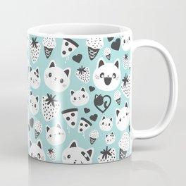 Cats & Food Pattern Coffee Mug