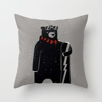 snowboard Throw Pillows featuring Bear on snowboard by SpazioC