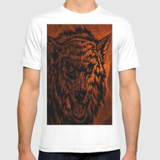angry wolf fire MEDIUM Mens Fitted Tee White