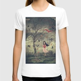 Girl on a swing in the woods T-shirt