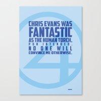 chris evans Canvas Prints featuring Nerdism 1 - Chris Evans by Molly Schurig