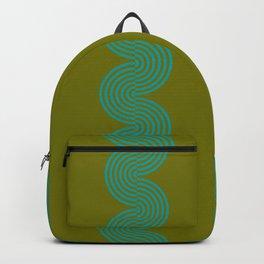 groovy minimalist pattern aqua waves on olive Backpack