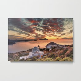The sunset from the castle above the village of Plaka in Milos, Greece Metal Print