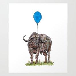 Buffalo with balloon Art Print
