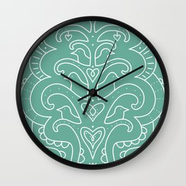 Bird Fountain white Line Drawing of Fountion on Light Teal Green Wall Clock