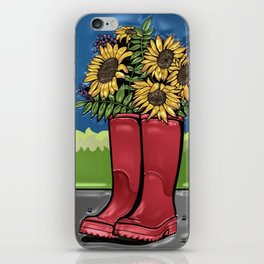 Red Rainboots & Sunflowers iPhone Skin