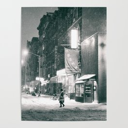 New York City - Night in the Winter - Lower East Side Poster