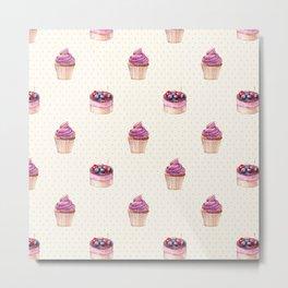 Vintage lavender pink ivory polka dots cherries pie cupcakes pattern Metal Print