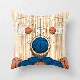 Colorful Blue basketballs on a Basketball Court Throw Pillow
