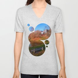 Romantic bench at the pond | waterscape photography Unisex V-Neck