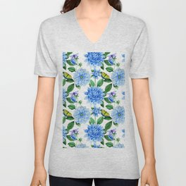 Hand painted blush blue pink yellow watercolor floral butterfly Unisex V-Neck