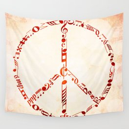 Watercolor music peace Wall Tapestry