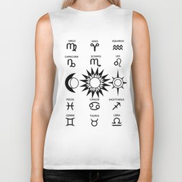 The Moon The Sun and The Stars with Zodiac Signs Biker Tank