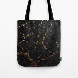 Gold Glitter and Black marble Tote Bag