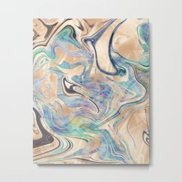 Liquid Bronze Mermaid Sea Marble Metal Print