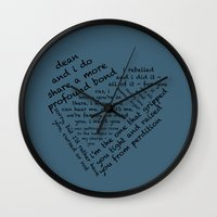destiel Wall Clocks featuring Quotes of the Heart - Destiel (Black) by fairy911911