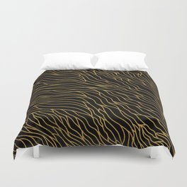 Gold Mermaid Waves on Black -Mix & Match with Simplicity of life Duvet Cover