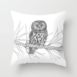 Northern Saw-whet Owl Throw Pillow