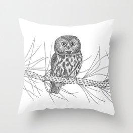 Northern Saw-whet Owl Throw Pillow