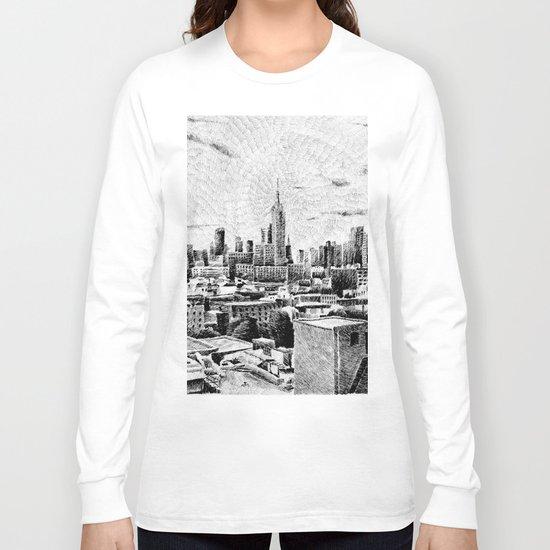 New York City - Fingerprint - Black ink Long Sleeve T-shirt