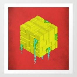 Cubic - Red Art Print