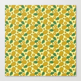 Doodle Pineapple - Tropical Pattern Canvas Print