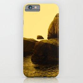 Abstract Minimalist Yellow Landscape Zen Rocks Water Nature Fine Art Photography iPhone Case
