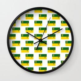 flag of saskatchewan -prairie,canadian, saskatoon,regina,Saskatchewanian,Saskatchewanite Wall Clock