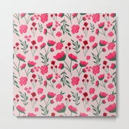 Pink Poppies Seamless Illustration Metal Print