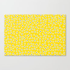 White Yellow Spring Flower Pattern Canvas Print