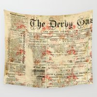 newspaper Wall Tapestries featuring Vintage newspaper grunge by MJ'designs - Marosée Créations