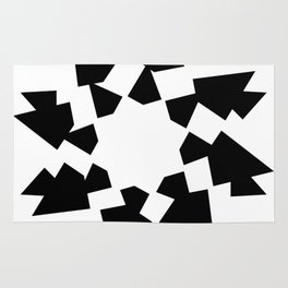 Shredded star with black and white Rug