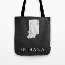 Indiana State Map Chalk Drawing Tote Bag