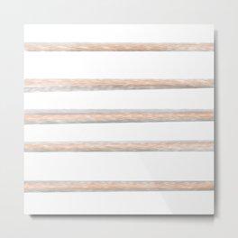 Peach gray stripes Metal Print